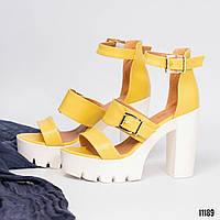 Женские босоножки желтые на платформе и каблуке эко-кожа