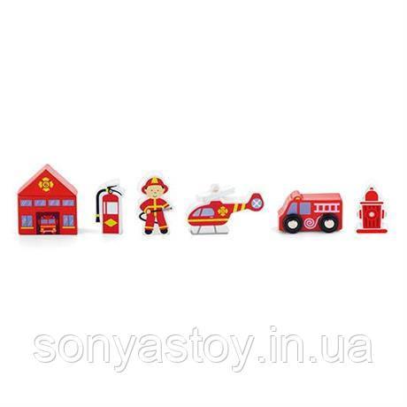 """Деревянный набор """"Пожарная станция"""" дополнение к железной дороге, 1+"""