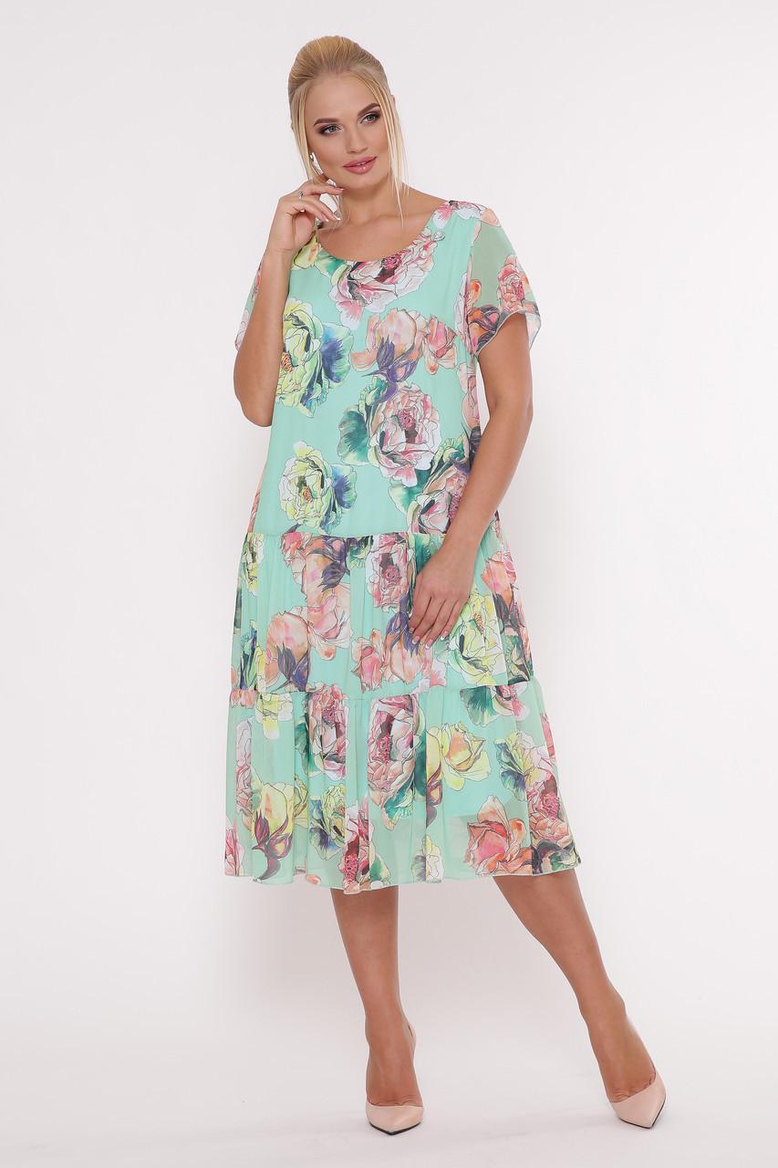 Летнее платье из креп-шифона 48 по 56 размер