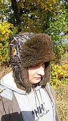 Шапка ушанка на натуральном меху  камуфляжная  Темный камыш