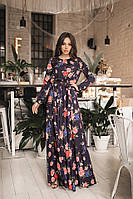Длинное платье с цветочным принтом / супер софт / Украина 45-5119-1, фото 1