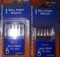 Иглы швейные Pony Ball Point 90/14 для трикотажа (5шт), к бытовым швейным машинам, фото 1