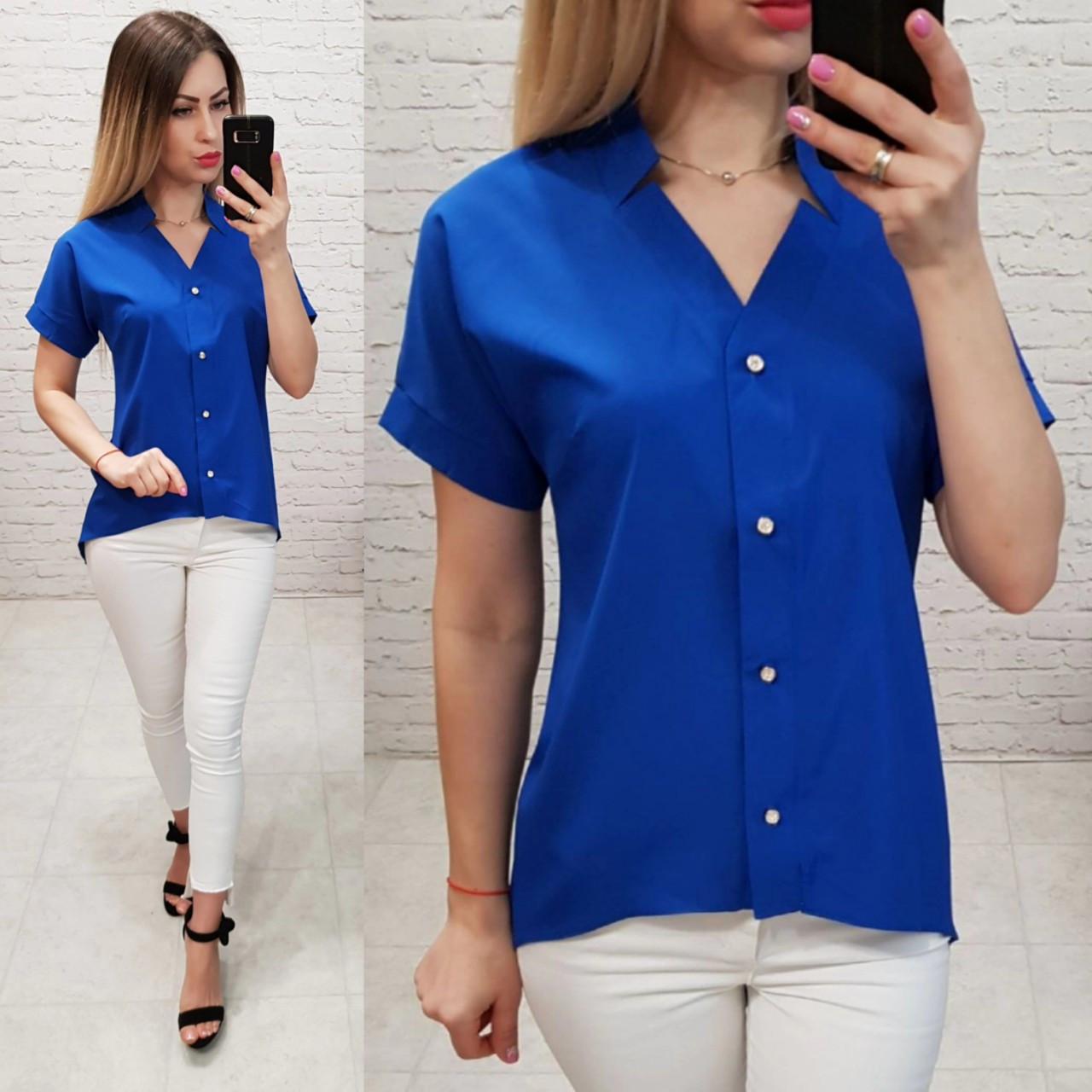 Блузка /блуза с коротким рукавом и удлинённой спинкой, модель 160 , цвет электрик