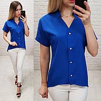 Блузка /блуза з коротким рукавом і подовженою спинкою, модель 160 , колір електрик, фото 1