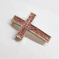 Подвеска коннектор металлический, 38*26*6 мм, из бижутерного сплава, кулон, украшение, медальон, платина, с розовыми стразами