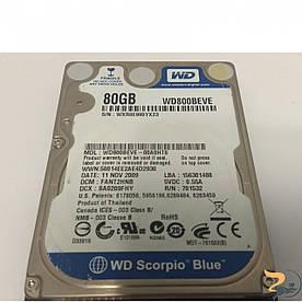 """Жорсткий диск 80GB, 2.5"""", IDE, Western Digital, Seagate, Hitachi, Toshiba, протестований, гарантія, Б/В"""