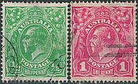 1918 Почтовые марки Австралии. Н/С 2 марки
