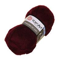 Пряжа для ручного вязания Yarnart Angora De Luxe (Ангора де люкс) мохер 577 темно красный
