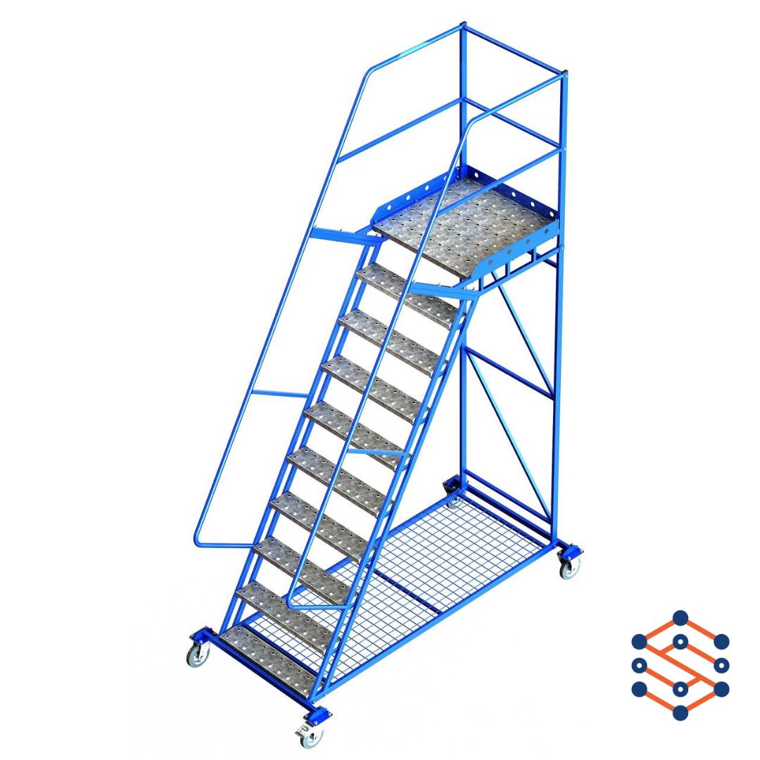 Складская лестница передвижная с полкой