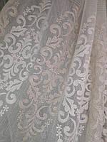 Тюль молочный лен с вышивкой
