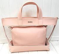 4f60bc6d4e65 Женская сумка Zara 2 в 1 с силиконовой вставкой пудровая 31*26см(24*