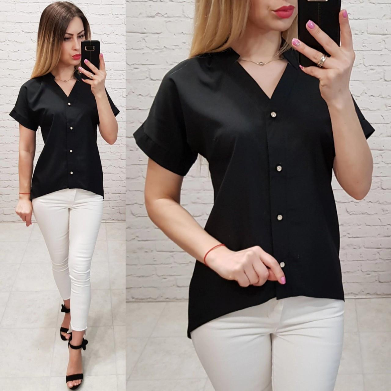 Блузка /блуза з коротким рукавом і подовженою спинкою, модель 160 , колір чорний