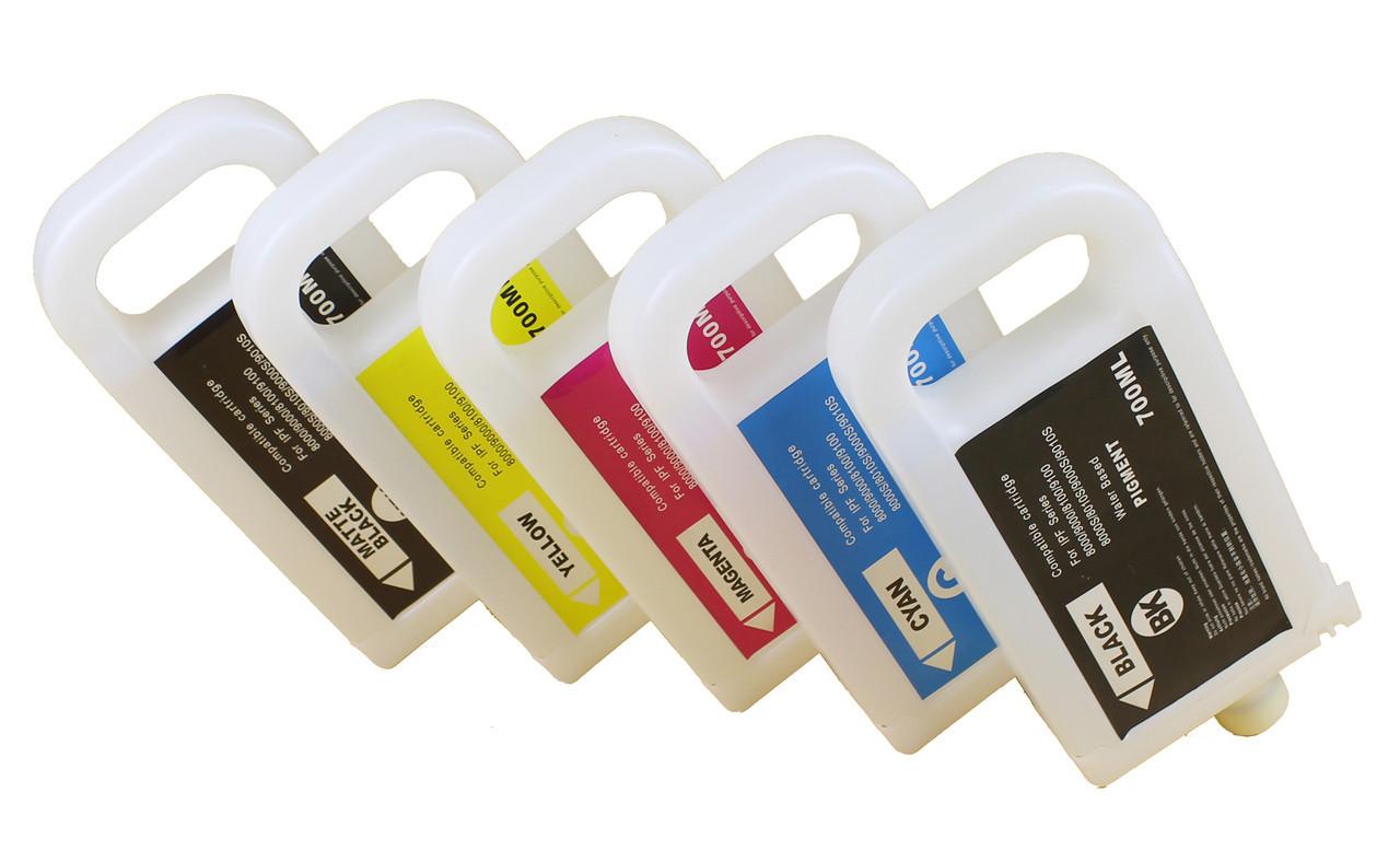 Перезаправляемые картриджи Ocbestjet для плоттеров Canon iPF810/iPF820 с чипами (5 шт. по 700 мл)