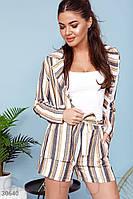 Женский льняной костюм с шортами в полоску S M L
