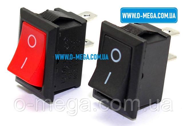Кнопочный выключатель, клавиша средняя, 2 контакта, с фиксацией, защёлка 18,8 * 12,9 мм.