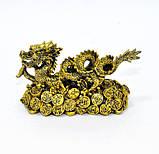 Дракон 14*8 см статуетка. Золотий Дракон на стіл. Золотий настільний дракон., фото 2