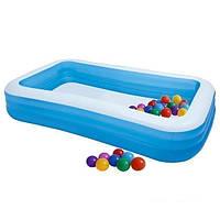 Детский надувной бассейн Intex 58484-1 прямоугольный с шариками 30 шт