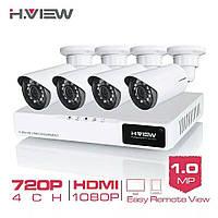 H.VIEW 4CH 720P комплект видеонаблюдения. 4 камеры Ночное Видение. Onvif. XMeye