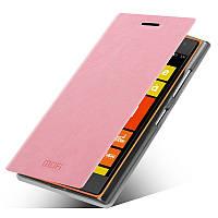 Кожаный чехол книжка MOFI для Microsoft Lumia 435 розовый
