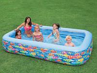 Надувной семейный бассейн прямоугольный Рыбки Intex 58485