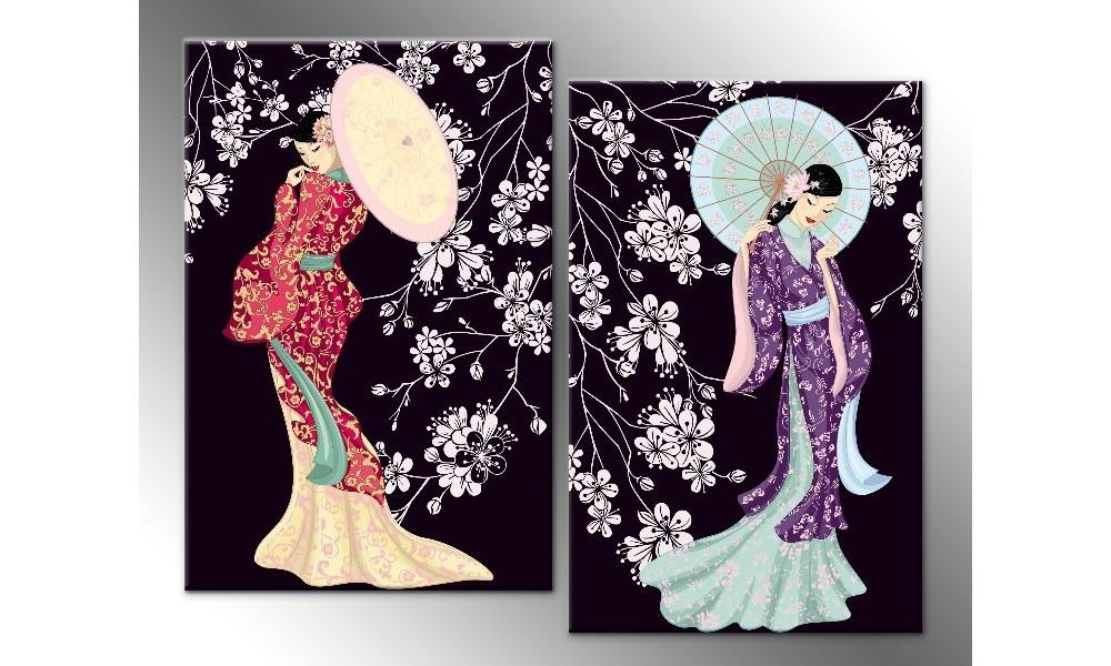 Модульная картина на холсте Темные японки 92х112 см (HAD-025)