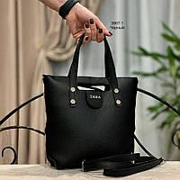 Сумка в стиле Zara черная экокожа, фото 1