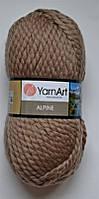 Пряжа для ручного вязания YarnArt Yarnart Alpine (альпина) толстая зимняя пряжа  нитки   336 кофе с молоком