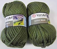 Пряжа для ручного вязания YarnArt Alpine Maxi (Альпин макси) толстая зимняя пряжа нитки 670 оливка