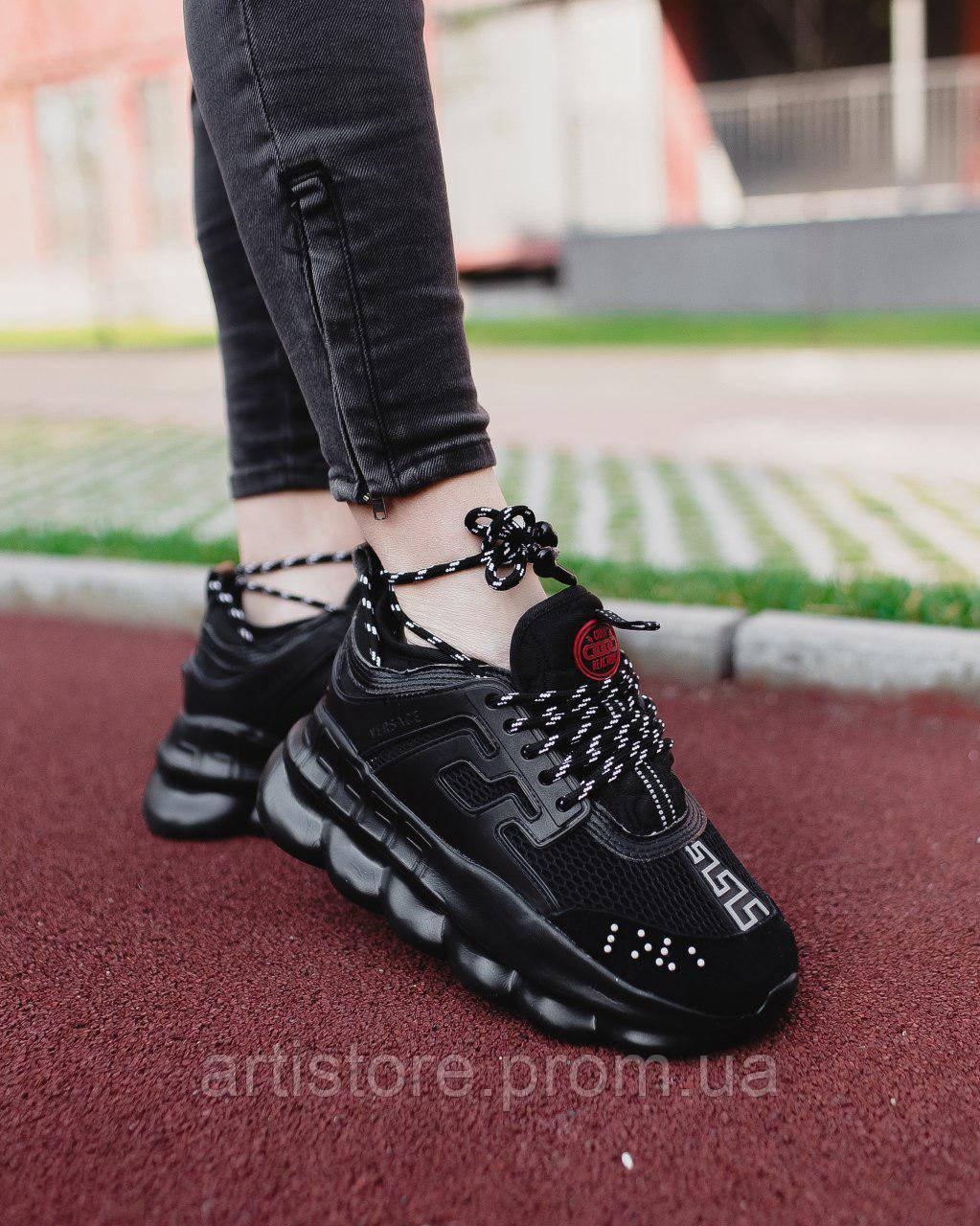 Кроссовки Versace Chain Reaction 2 Full black Чисто черные