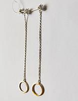 Серебряные серьги-пуссеты Круг с цепочкой и цирконием, фото 1