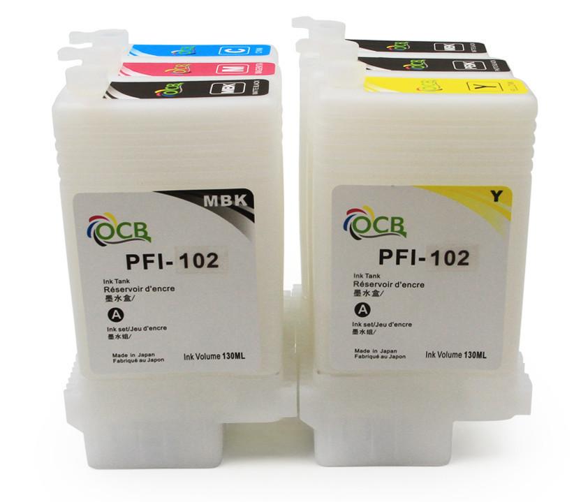 Перезаправляемые картриджи Ocbestjet для плоттеров Canon iPF650/iPF750 без чипов (6 шт. по 130 мл)