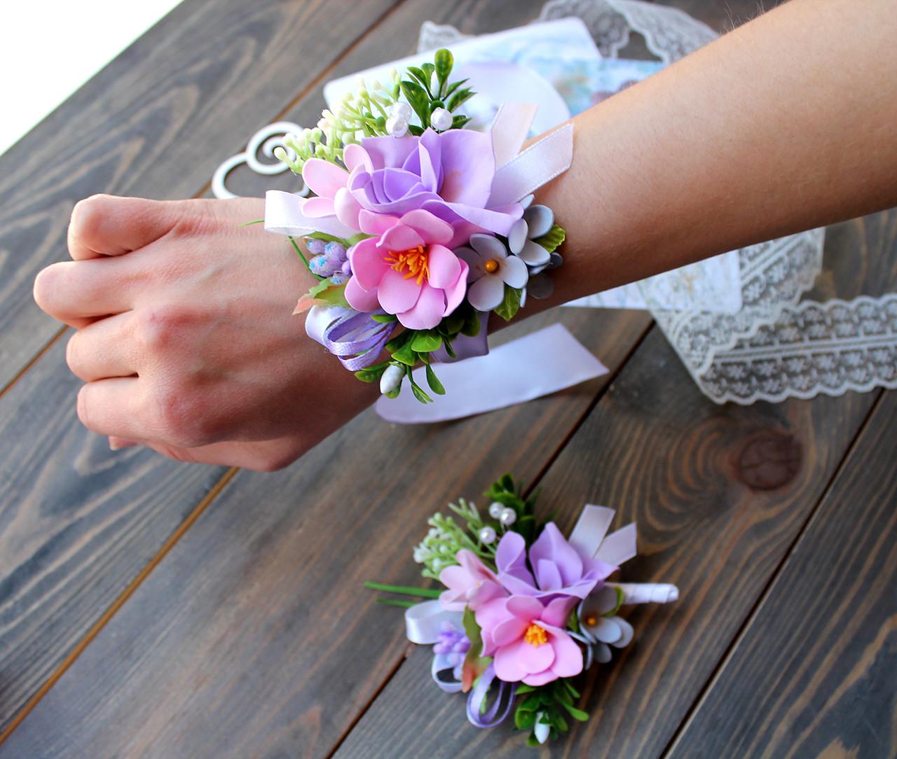 Свадебный браслет и бутоньерка