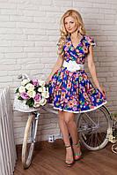 Женское шелковое платье в цветочный принт