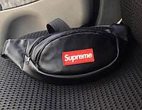 Поясная сумка Supreme 19499 черная кожаная, фото 1