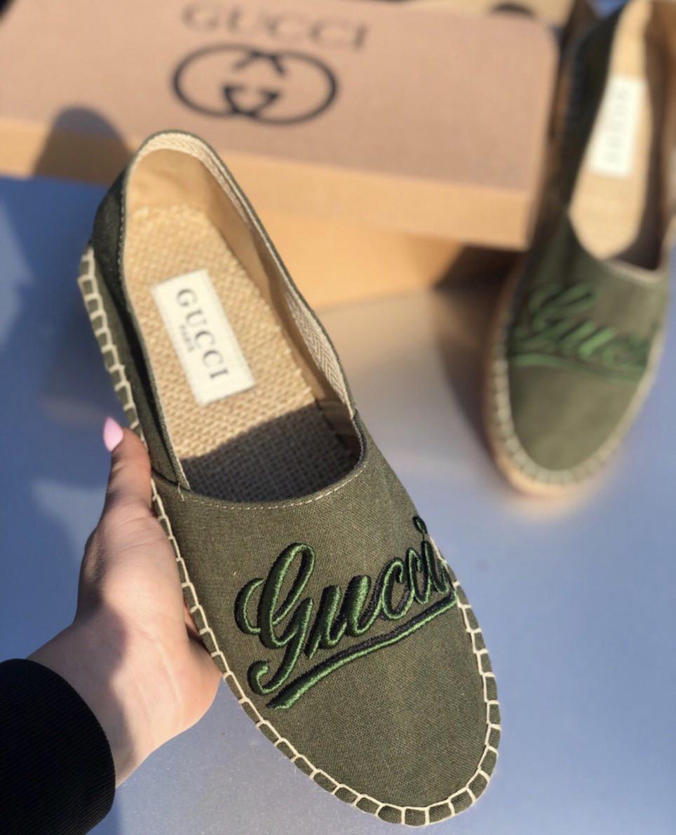 Эспадрильи мужские Gucci D6900 темно-зеленые