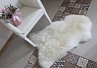 Шкура овечья для интерьера в доме, белый цвет, ковер, размер 130х80
