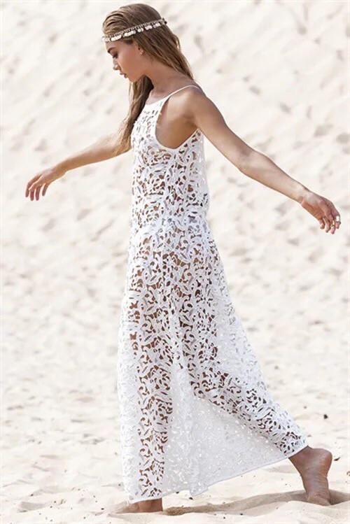 Пляжная накидка белая из кружева 6818233