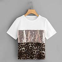 Женская футболка с пайеткой и леопардовым принтом 6817219