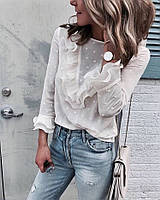 Шифоновая женская рубашка в горошек 68BL245, фото 1