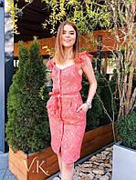 Гипюровое летнее платье на пуговицах с поясом 60PL2715, фото 1