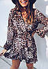 Леопардовое и змеиное платье на запах с оборкой 68PL2730