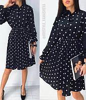 Шифоновое платье в горошек с пышной юбкой 68PL2732, фото 1