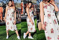 Льняное летнее платье без рукава 53PL2736