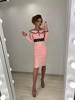 Замшевое платье с вырезом - лодочкой и кружевом 71PL2737, фото 1