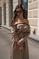 Летнее свободное платье с открытыми плечами и поясом 71PL2738, фото 1