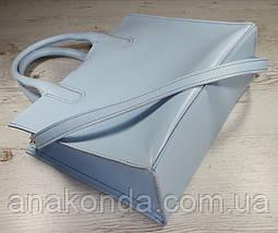 73 Натуральная кожа, Сумка женская голубая Сумка кожаная светлая голубая светло-голубая формат А4 А-4, фото 3
