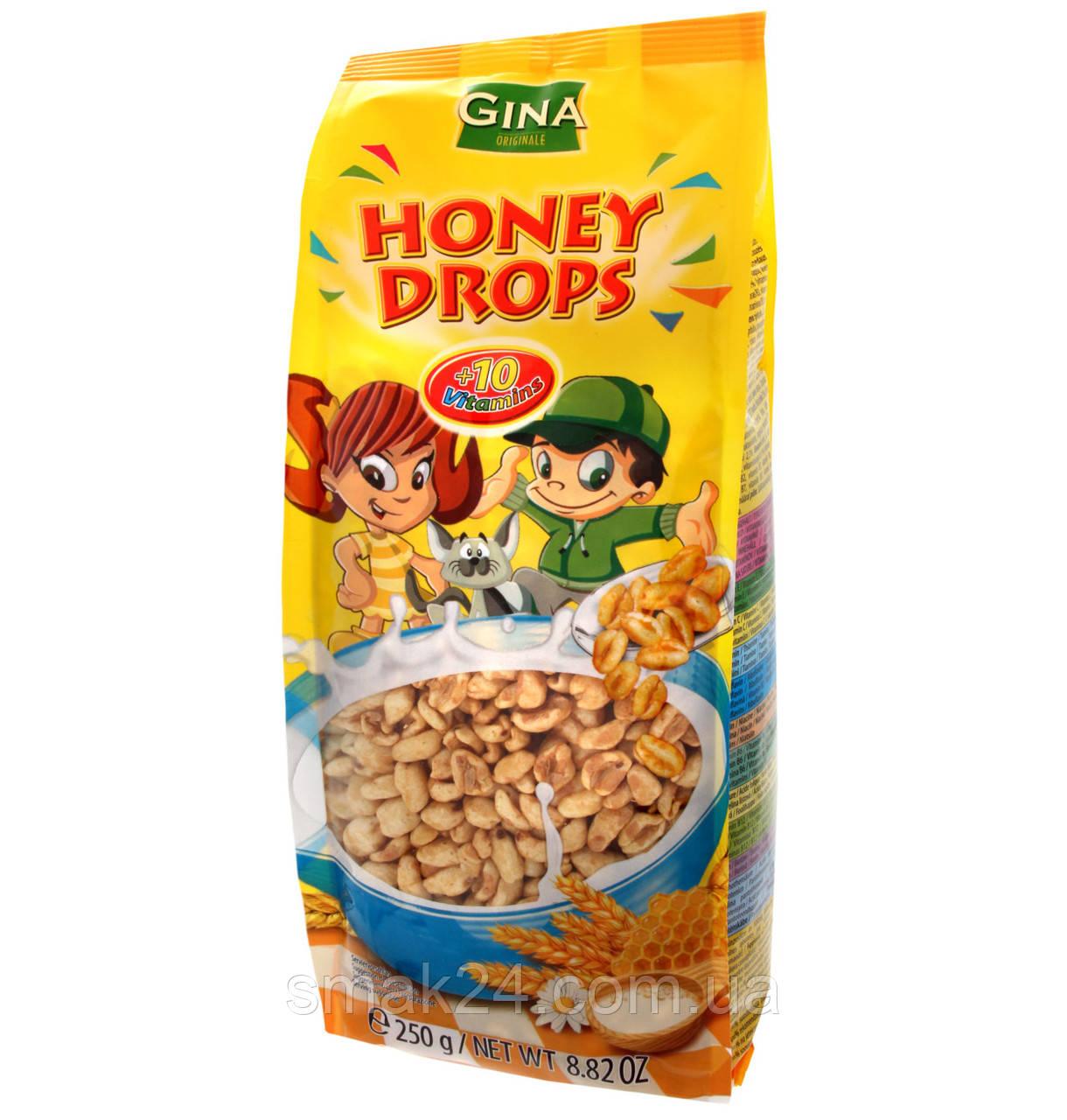 Сухой завтрак Пшеничные Капли меда + 10 витаминов Honey Drops Gina 250г Австрия