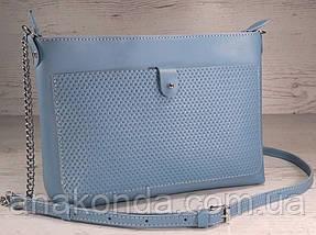 23-2   Натуральная кожа, Сумка- клатч, голубая голубой светло-синяя с тиснением рогожка Little Boy Blue, фото 2