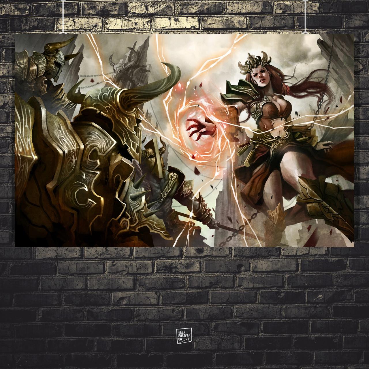 Постер Diablo 3, Дьябло 3. Размер 60x38см (A2). Глянцевая бумага
