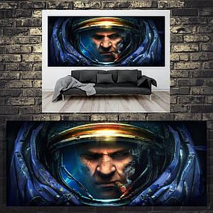 Постер Джеймс Рейнор, Jim Raynor, Starcraft, Старкрафт, панорама. Размер 60x26см (A2). Глянцевая бумага